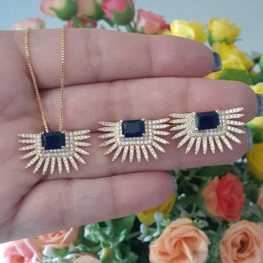 Conjunto glamour cristal Blue com Microzircônias