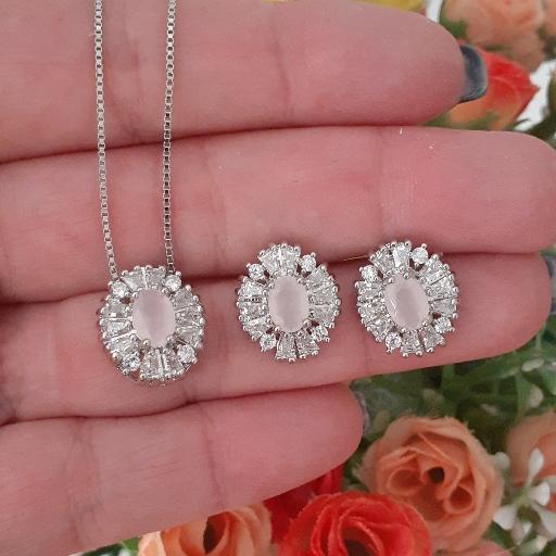 Conjunto cristal com zircônias