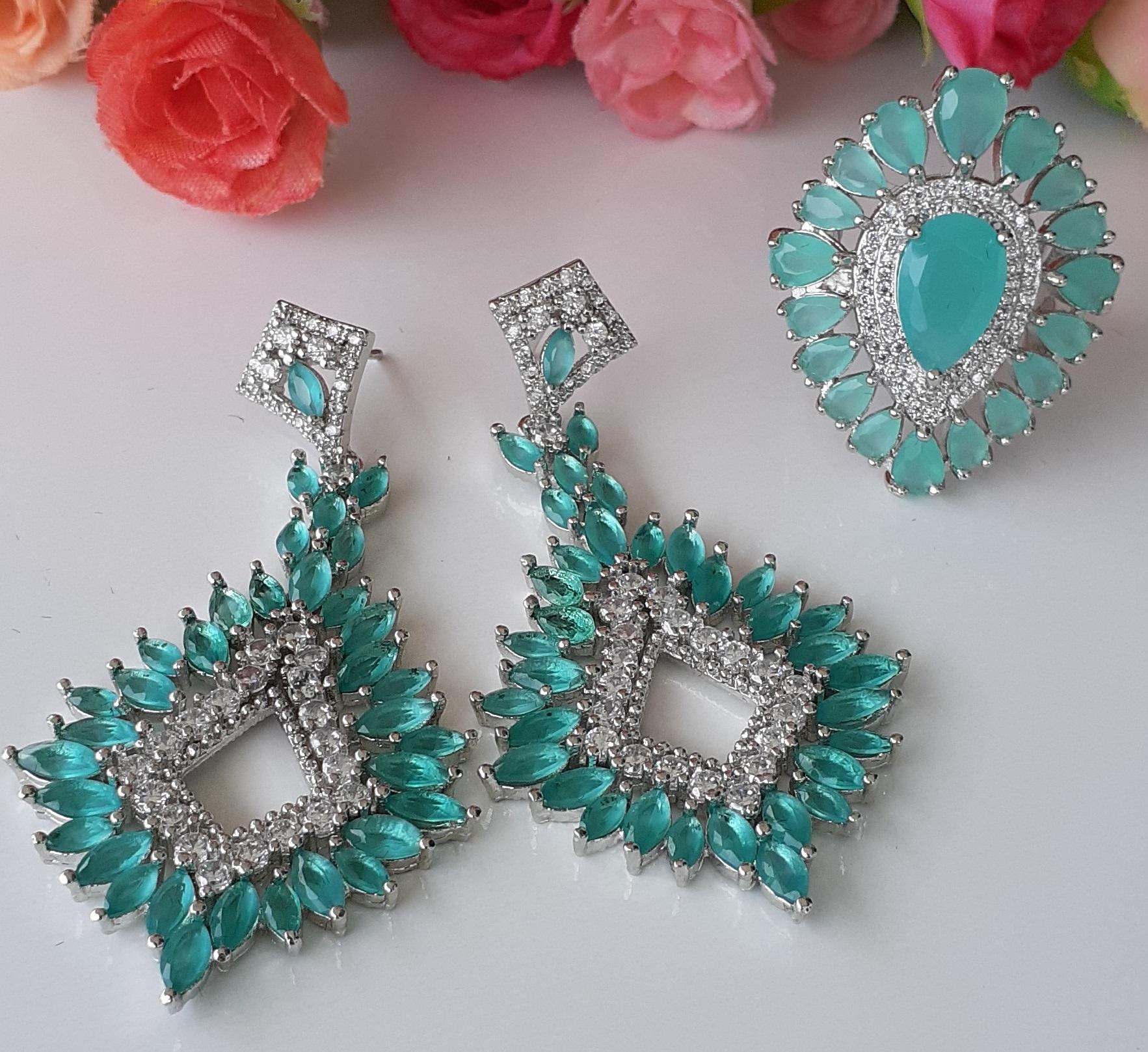 Conjunto Cristal com zirconias verde aqua