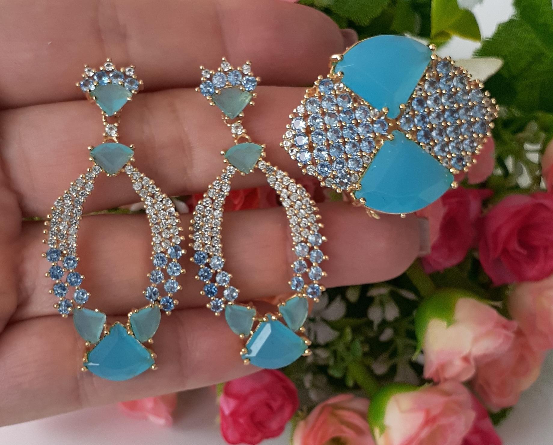 Conjunto Cristal Azul com Zirconias