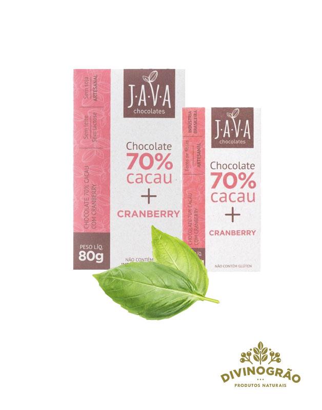 CHOCOLATE 70% CACAU COM CRANBERRY JAVA🍫